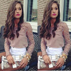 1PC Women Lace Crochet Embroidery Tops Long Sleeve Shirt Casual Blouse Work Well
