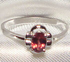 Genuine Faceted Oval Red Garnet .925 Sterling Silver Ring -- RN874