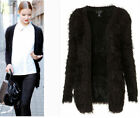 NEW Womens Long Sleeve Fluffy Cardigan Sweater Coat Classic Sweater Jacket Top