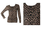 NEW WOMENS BROWN LEOPARD PRINT SCOOP NECK LONG SLEEVED TOP SIZE 8-14