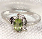 Genuine Faceted Oval Green Peridot .925 Sterling Silver Ring -- PD872