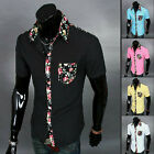 Fashion Men V-neck Floral Print Lapel Pocket Shirt Short Sleeve Slim Shirt Tee