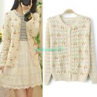 New Women Long Sleeve Casual Loose Hollow Knitwear Cardigan Blouse Sweater Tops