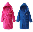 Personalised Boys Girls Toweling Bathrobes Dressing Gowns Teens Youths Pink Blue