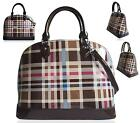 LADIES GRAB BAG CLASSIC DESIGNER TARTAN CHECK PRINT FASHION WOMENS SHOULDER HAND