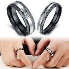 Couple Stainless Steel Black Silver Drill bands Promise Ring Wife Husband Gifts