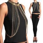 Themogan Embellished High Neck Tank Top Sleeveless Bib Necklace Accent Blouse