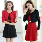 Women 2pc Ladies Work Office Career Suit Set Short Blazer + A-Line Mini Dress