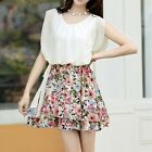 Women Chiffon Patchwork Butterfly Sleeve Top Floral Print Mini Pleated Dress