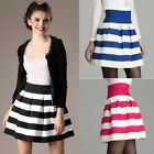 Women Cute Knitted Stripe Patchwork Jersey High Waist Mini Jersey Skater Skirt