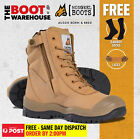 Mongrel 451050 Work Boots. Steel Toe Safety. Wheat Hi-Leg Zip Sider. PRESS STUD!