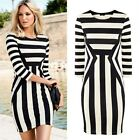 Women Celebrity Clubwear Striped 3/4 Sleeve Mini Bodycon Dress Black and White