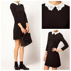 Women Autumn Casual Slim Fit Lace Peter Pan Collar 3/4 Sleeve A-Line Mini Dress