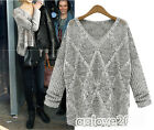 Women's Loose Knitted Pullover Jumper Sweater V Neck Long Sleeve Tops Knitwear