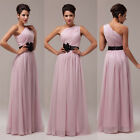 HOT~PLEATED Long Party Prom Bridesmaid COCKTAIL Evening Dress 6-8-10-12-14-16-20