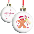 PERSONALISE ADD A MESSAGE FELT STITCH CHRISTMAS BAUBLE TREE DECORATION 8 DESIGNS