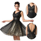 Black V-Neack Short Cocktail Tutu Ruffles Homecoming Evening Prom Formal Dresses
