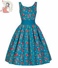 Lindy Bop 50's Lana Floral Dress Teal