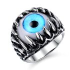 Amazing Hell Beholder Blue Eye Monster Shark Teeth Mens PUNK Charming Bands Ring