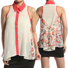 MOGAN Floral Contrast Panel CHIFFON BLOUSE - Sleeveless Swing Shirt Top