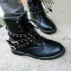 Hot Women Retro Fashion Combat Round Toe Low Heel Military Up Rivet Ankle Boots