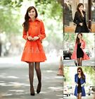 Free Shipping Womens Slim Lapel Trench Double Breasted Outwear Coat Belted FUS