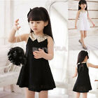 Hot Selling Girls Toddlers Kids Princess Party White Black Lace Dress Size2-7Y