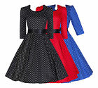 WOMENS 40'S 50'S VINTAGE POLKA DOT 3/4 SLEEVE ROCKABILLY SWING DRESS NEW