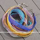 2pcs Organza Voile Ribbon Silk Cord Necklace With Lobster Clasp Adjustable Chain