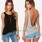 Fashion Women Slim Soft Casual Sleeveless Backless Blouse Vest Top Basic T-Shirt