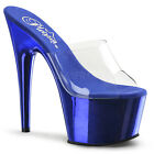 "PLEASER ADO701/C/RYBLCH Sexy Royal Blue Chrome Platform 7"" Heels Stripper Shoes"