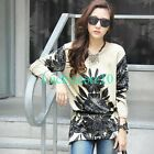 New Women Floral Crewneck Long Sleeve Casual Knitted Blouse Loose Tops L XL