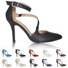 NEW WOMENS LADIES SEXY POINTED TOE ANKLE STRAP HIGH HEEL PUMPS COURT PARTY SHOES
