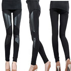 New Fashion Sexy Lady Stitching Stretchy Faux Leather Back Tight Pant Leggings O
