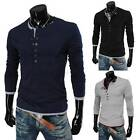 Mens Crew Neck Long sleeve Garment Button Placket Casual T-shirt USLO