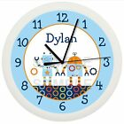 BABY BOTS ROBOT WALL CLOCK NURSERY BLUE PERSONALIZED BOYS BABY SHOWER GIFT