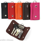 Foldable 6 Key Chain Rings Unisex Mens Leather Pouch Bag Holder Charms Wallets