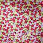 FFA-110 RED JALE PINK APPLES COTTON LINEN CANVAS FABRIC BY 0.5 Yard
