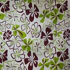 FFA-135 BROWN GREEN FLORAL ON WHITE COTTON LINEN CANVAS FABRIC BY 0.5 Yard