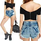 New Women Off Shoulder Short Sleeve Punk Hippy Cropped Top Tee T shirt Blouse#LJ