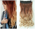Reddish brown Sandy blonde Clip in Ombre Hair Extensions Straight Curly Wavy