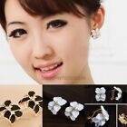 New Women Gardenia Flower Crystal Ear Studs Rhinestone Earrings Ear Hoop Buckle