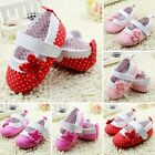Girls Kids Dot Flower Baby Shoes Soft Sole Toddler PU Leather Crib Shoes 0-18M