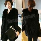 Lady's Soft Faux Fur Lining Hood Comfortable Long Vest Coat Black color NEW #