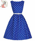 Lindy Bop 50's Audrey Vintage Style Polka Dot Dress Blue