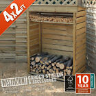 NEW WOODEN GARDEN WOOD LOG FIRE STORE - 2 SIZES