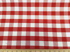 Discount Fabric 62 inch wide Upholstery Drapery Twill Red and White Check 19DR