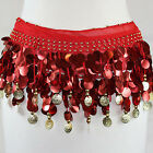 New Belly Dance Hip Scarf Skirt Wrap Color Coins Gold Coins Chiffon Sequins US