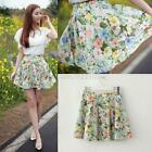 Ladies Retro High Waist Pleated Floral Print Chiffon Sheer Short Mini Skirt Cute