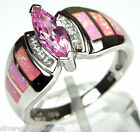 White Topaz & Pink Fire Opal Inlay Solid 925 Sterling Silver Ring Size 6, 7, 9